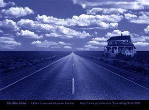 Blue Hotel on a lonely highway ecard